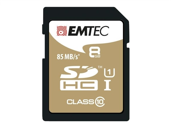 SDHC 8GB EMTEC CL10 Gold+ UHS-I 85MB/s