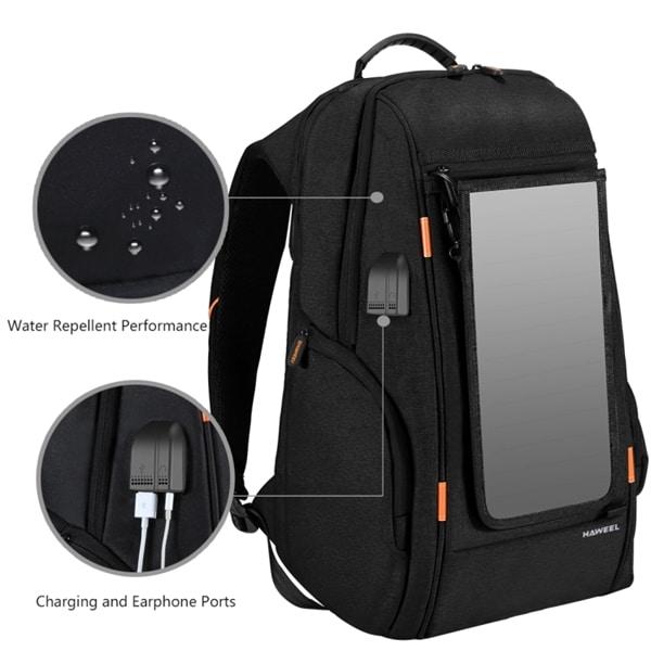 HAWEEL Multifunktions ryggsäck för laptop med solcellspanel för laddning 4e3e989f55654