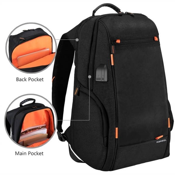 HAWEEL Multifunktions ryggsäck för laptop med solcellspanel för laddni f7ea16b2864ea