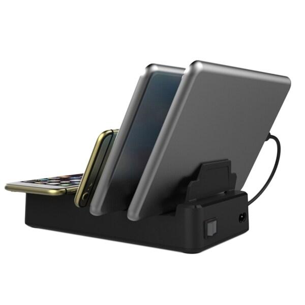 Laddstation med inbyggd QI laddning för iPhone Android & Surfplattor