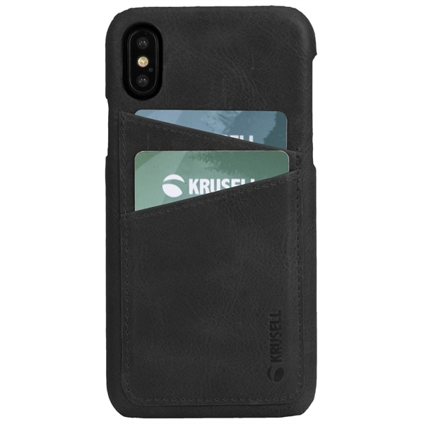 Krusell Sunne 2 Card Cover iPhone XS - Vintage Black