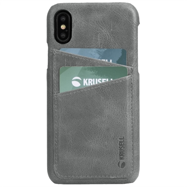 Krusell Sunne 2 Card Cover iPhone XS - Vintage Grey