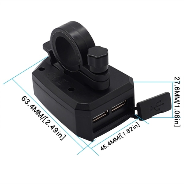 Kopplingsdosa för motorcykel 10 80V 2.4A med dubbel USB laddare Köp