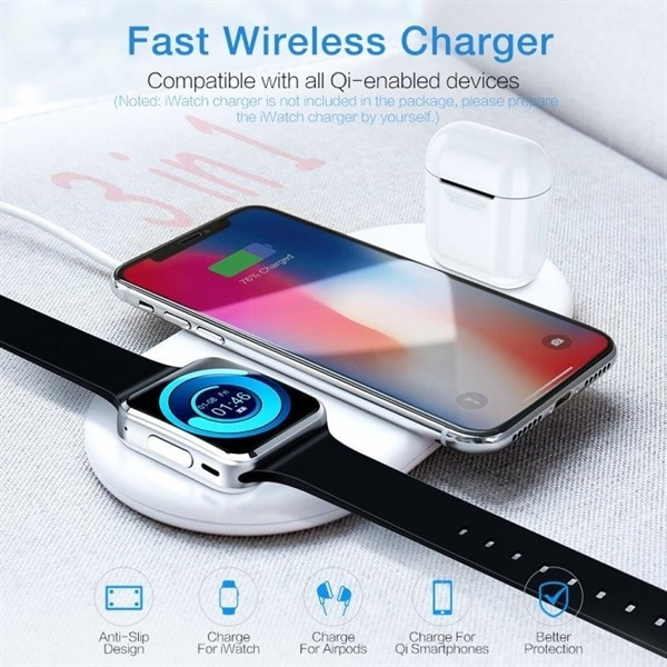 Qi Laddare 10W iPhone, Galaxy, Xiaomi, Google, LG, Apple Watch, AirPod