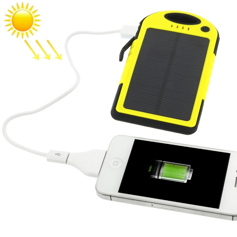 Solcellsladdare 5000mAh iPhone Samsung Galaxy Sony HTC LG