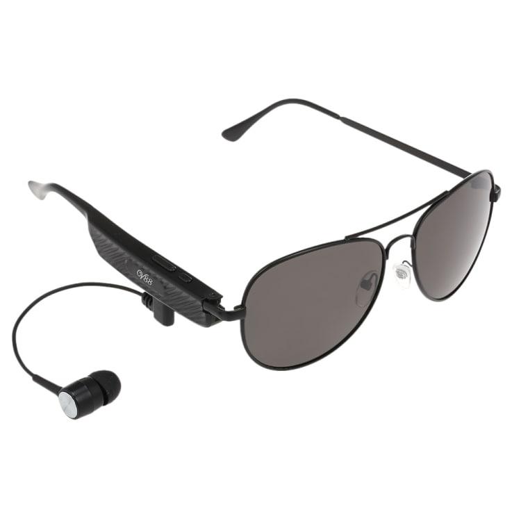 Solglasögon med hörlur och mikrofon