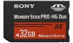 32GB Sony Memory Stick Pro-HG Duo HX 50MB/s